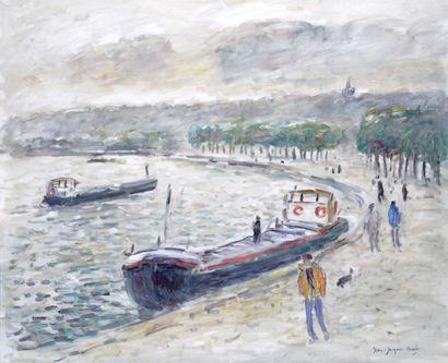JEAN-JACQUES RENE (1943-) La Seine à Rouen...