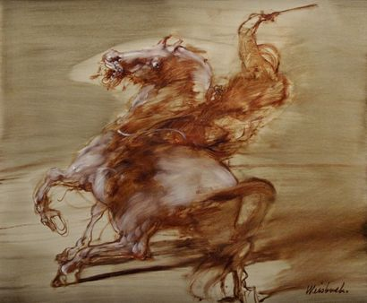 CLAUDE WEISBUCH (1927-2014) Le cavalier Huile...