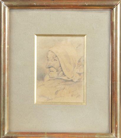 Henry MONNIER 1808-1877. « La vieille au...