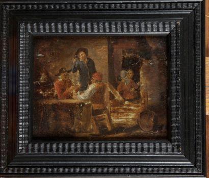 ÉCOLE FLAMANDE DU XVIII SIÈCLE. « Scène de...