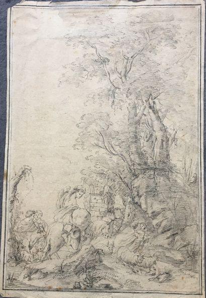 ÉCOLE FRANÇAISE du XVIIIe siècle BERGERS...