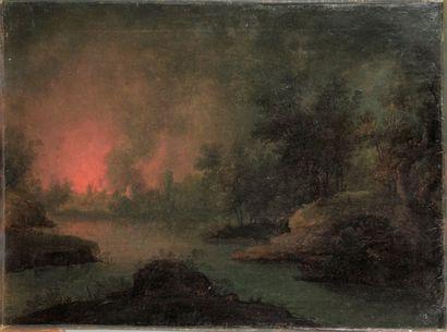 Ecole Française du XIX siècle. « L'incendie...