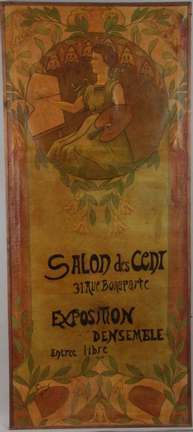GRAND panneau décoratif d'après CHERET «...