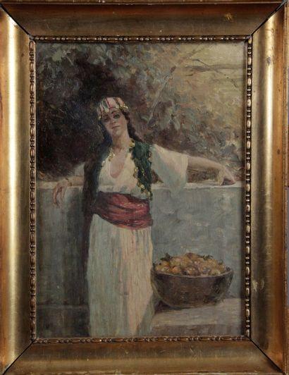 ÉCOLE ORIENTALISTE DU XIX SIÈCLE. « Femme...