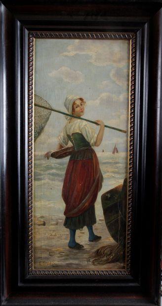 ÉCOLE FRANÇAISE DU XIX SIÈCLE. « Pêcheuse...