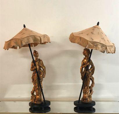 Paire de LAMPES, couple de personnages à...