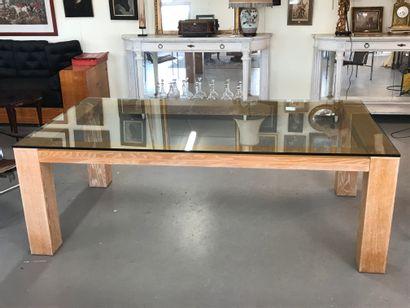 Grande TABLE de salle à manger en chêne cérusé,...