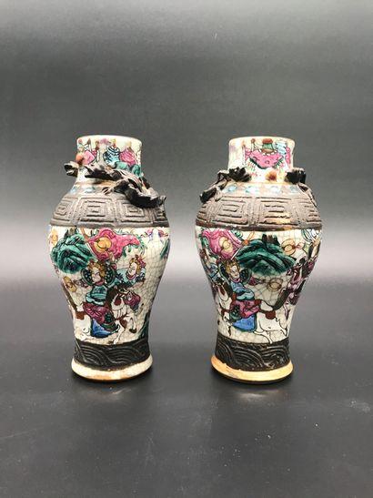 Paire de vases en porcelaine de NANKIN  à...