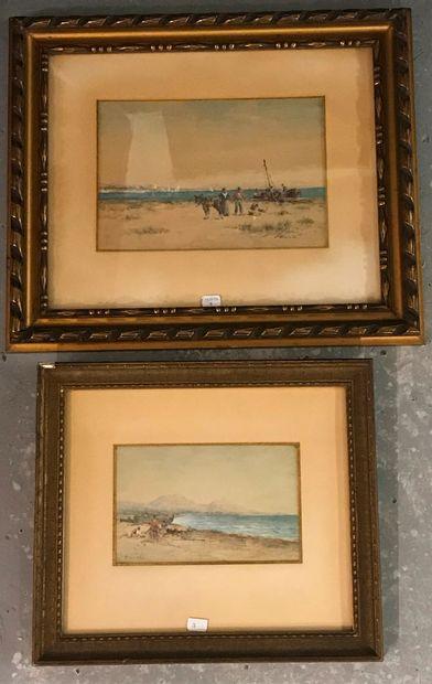 V. CASTE  Deux aquarelles sur papier  Marines...
