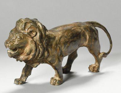 CHENET STONE (20th century) Bronze lion with...
