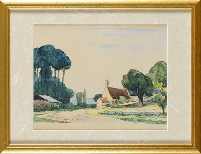 GASTON BALANDE (1880-1971) Le hameau Gouache...