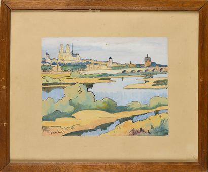 GASTON BALANDE (1880-1971) La Loire à Orléans...