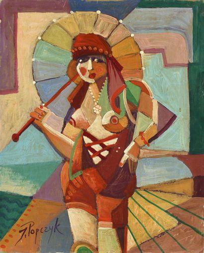 JOZEF POPCZYK (1890-1971) Parapluie Huile...