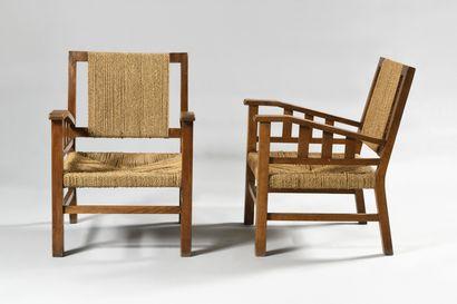 FRANCIS JOURDAIN (1876-1958) Paire de fauteuils...