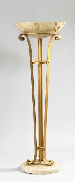 Tripod floor lamp made of gilded wrought...