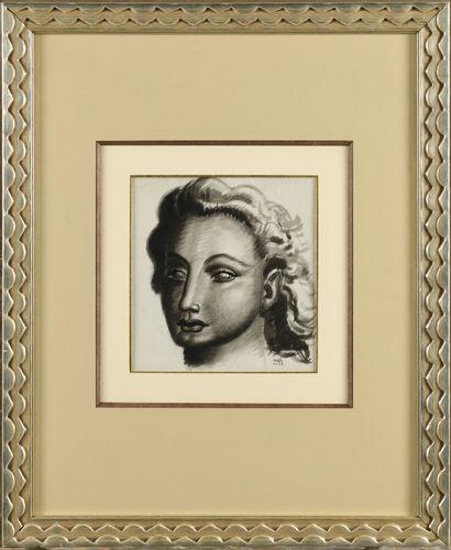 JEAN DUPAS (1882-1964) Portrait Dessin au...
