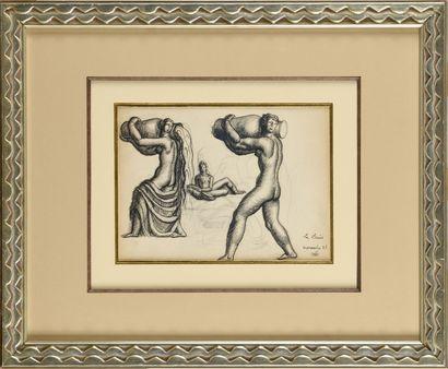 JEAN DUPAS (1882-1964) La Paix Dessin à la...