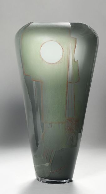 A. RIECKE Très grand vase tronconique en...