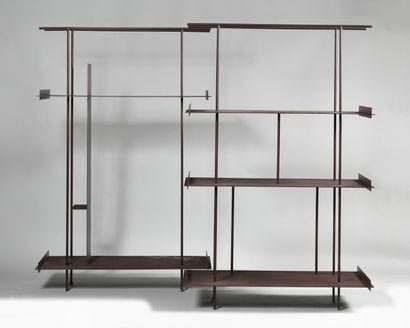 HOM LESUAN (XXth) Two shelves in burgundy...