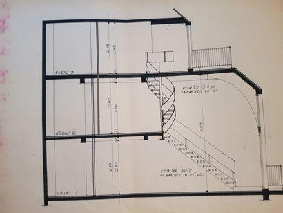 FRANÇOIS CATROUX (1936-2020), Attribué à Escalier hélicoïdal en lame d'acier, à...