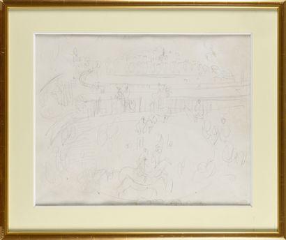 RAOUL DUFY (1877-1953) Le champ de courses Dessin au crayon noir Porte le cachet...