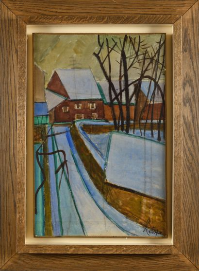 LOUIS LATAPIE (1891-1972) Le moulin Huile...