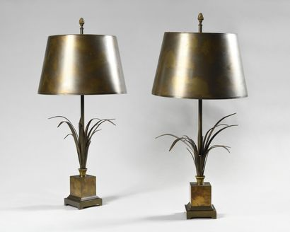MAISON CHARLES Reeds Pair of lamps in patinated...