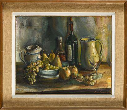 JEAN GERMAIN-JACOB (1900-?) Nature morte aux fruits Huile sur toile Signé en bas...
