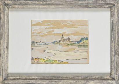 GASTON BALANDE (1880-1971) Paysage Gouache...