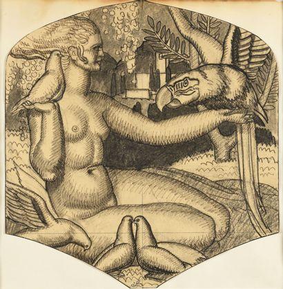 JEAN DUPAS (1882-1964) Femme aux oiseaux...