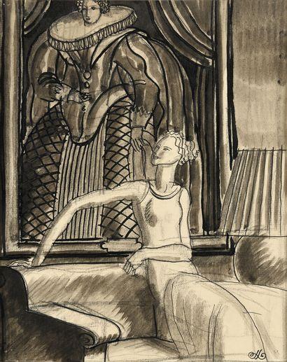 JEAN DUPAS (1882-1964) Elégante au salon...