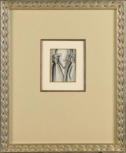 JEAN DUPAS (1882-1964) Etude de deux femmes...