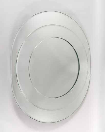 FONTANA ARTE Large oval mirror applied with...