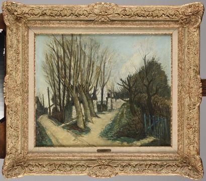 ALPHONSE QUIZET (1885 - 1955) Rue de village...