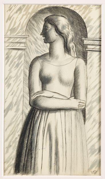 JEAN DUPAS (1882-1964) Madone devant une...