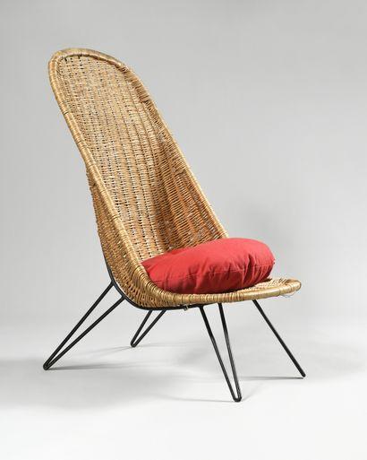 TRAVAIL DES ANNEES 1950 Haut fauteuil à haut...