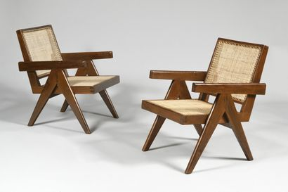 PIERRE JEANNERET (1896-1967) Easy chairs,...