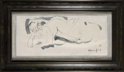 ALAIN BONNEFOIT (1937) Nu (Sumi) Encre sur...
