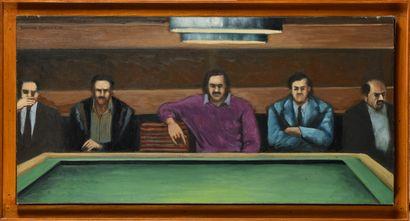 SATURNINO RAMIREZ (1946-2002) Billard, 1981 Huile sur toile Signé et daté en haut...