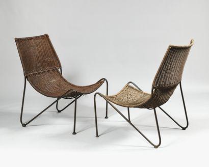 FREDERICK WEINBERG (1922-1970) Paire de fauteuils...