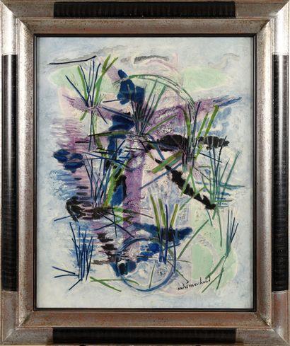 ANDRE MARCHAND (1907-1997) Silence dans la rizière Huile sur toile Signé en bas...