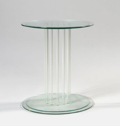 WORK OF THE 1980's Small glass table with...