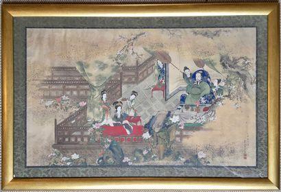 CHINE Peinture sur soie encre et couleur...
