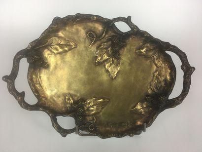 Albert MARIONNET (1852-1910) Plateau en bronze...