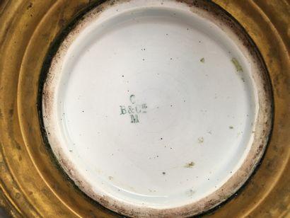 CREIL ET MONTEREAU Pair of enamelled porcelain baluster vases with brown background...