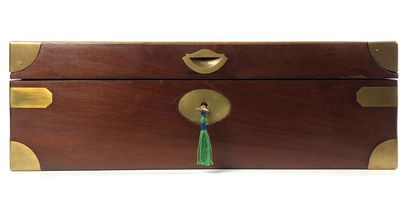 Mahogany marine writing desk with brass trim opening by a small side drawer. Monogrammed...