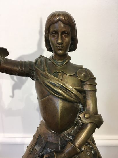 Alfred BARYE (1839-1895) Jeanne d'Arc Bronze with a brown patina with a golden brown...