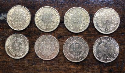FRANCE 8 pièces 20 francs or Poids total...