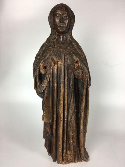 SAINTE FEMME en bois sculpté en ronde-bosse...