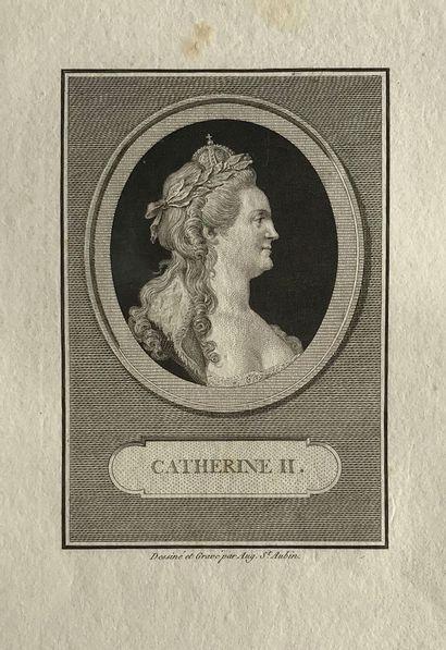 LOT DE TROIS GRAVURES :  1) Catherine II....
